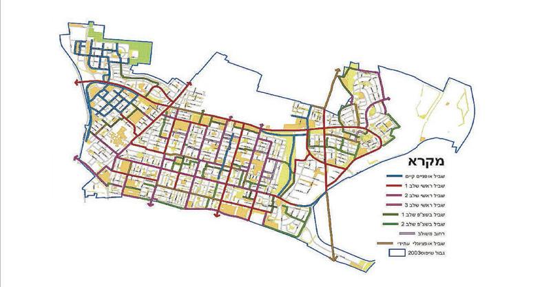 מפת תכנית אב שבילי האופניים המלאה של כפר סבא פברואר 2018